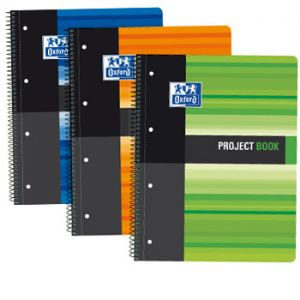 OXFORD - Caderno Espiral Oxford Project Capa plastico A4 Pautado: 80folhas: 3 Cores (verde: laranja e azul) (min. 5 un.)