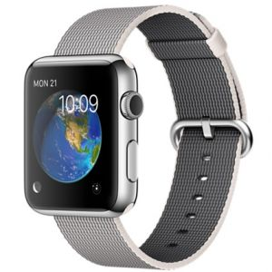 APPLE - 42mm Stainless Steel Case with Pearl Woven Nylon