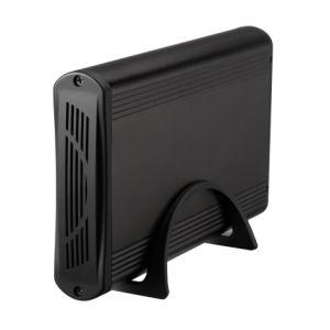 TOOQ - Caixa externa para disco HDD 3.5P SATA a USB 3.0 - Carcaca aluminio - Adaptador de corrente externo - Medidas, 206mm x 120mm x 30mm - Preto