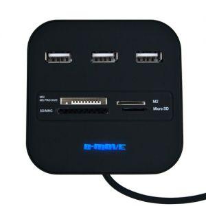 B-MOVE - LEITOR CARTÕES EXTERNO. 3 X USB. PRETO (BM-CR04)