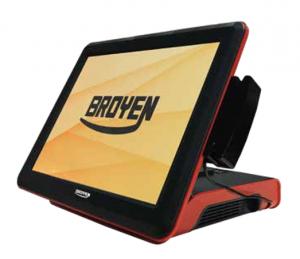 Broyen - Broyen POS LV-9000S - Ecrã 15P, J1900, 2GB, 64GB SSD, MSR, VFD, Moldura Vermelha
