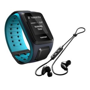 TOMTOM - Runner2 Music + Auscultadores Bluetooth - Preto / Azul (Tamanho bracelete L)
