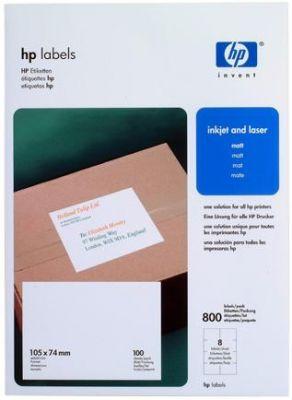 HP - Labels 105 x 74 mm (8 labels per sheet/100 sheets)