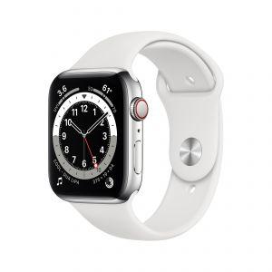 APPLE - Watch Series 6 GPS + Cellular 44mm em Aco Inoxidavel Prateado com Bracelete Desportiva Branca