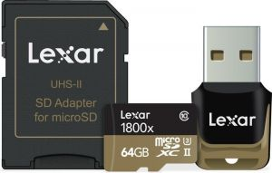 LEXAR - 64GB microSDHC/XC UHS-II 1800x w/ Reader & Adapter U3