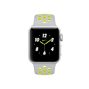 APPLE - Watch Nike+: 38mm Silver Aluminium Case with Flat Silver/Volt Nike Sport Band