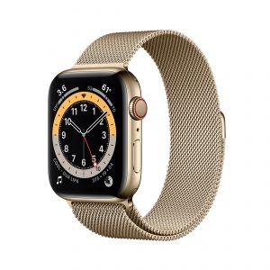 APPLE - Watch Series 6 GPS + Cellular 44mm em Aco Inoxidavel Dourado com Bracelete Loop Milanesa Dourada