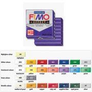 FIMO - Pasta de modelar FIMO Effect Glitter Roxo 56grs: 55X55X15mm: Dividido em 8 parcelas: Lisa e Macia: Facil de Misturar: Pronta para Usar: Cor Vibrante