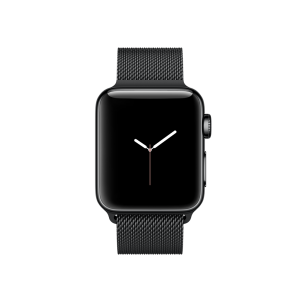 APPLE - Watch Series 2: 38mm Space Black Stainless Steel Case with Space Black Milanese Loop