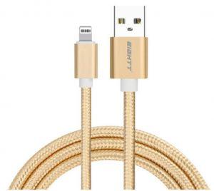 EIGHTT - CABO USB PARA LIGHTNING 1M DE NYLON DOURADO. CAIXA DE ALUMINIO