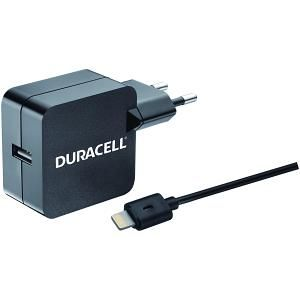 DURACELL - Apple lighting 2.4A 220V EU Charger Black (incl. cable)