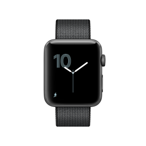 APPLE - Watch Series 2: 38mm Space Grey Aluminium Case with Black Woven Nylon Band