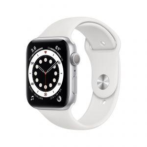 APPLE - Watch Series 6 GPS 44mm Prateado com Bracelete Desportiva Branca - Regular