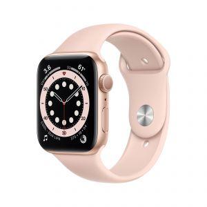 APPLE - Watch Series 6 GPS 44mm Dourado com Bracelete Desportiva Rosa Areia - Regular