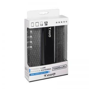 TOOQ - PowerBank 10400mAh - Lanterna LED - 2x USB 5V/1A+5V/2,1A - Preto