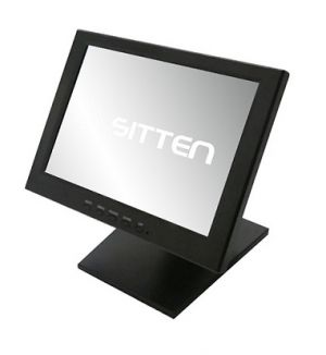 SITTEN - ST-1288 - Monitor TFT 12P Touch, USB, base Metálica em Alumínio Cor Preto, tela Touch Resistiva: 200 nits, Tempo de Resposta 8 msec., resolução máx: 800x600