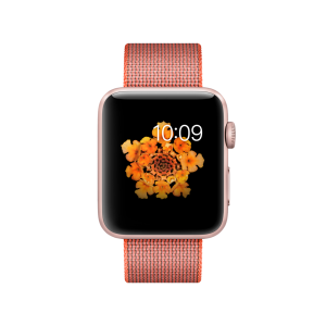 APPLE - Watch Series 2: 42mm Rose Gold Aluminium Case with Orange/Anthracite Woven Nylon Band