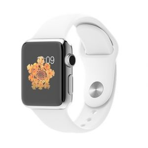 APPLE - Watch 38mm Stainless Steel Case with White Sport Band