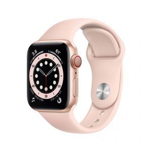 APPLE - Watch Series 6 GPS + Cellular 40mm em Aluminio Dourado com Bracelete Desportiva Rosa Areia
