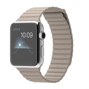 APPLE - Watch 42mm Stainless Steel Case with Stone Leather Loop - Large