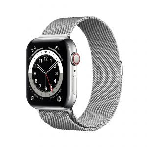 APPLE - Watch Series 6 GPS + Cellular 44mm em Aco Inoxidavel Prateado com Bracelete Loop Milanesa Prateada