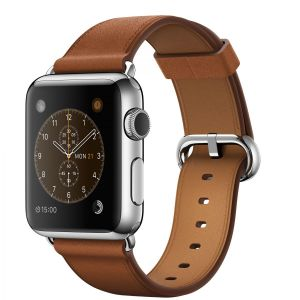APPLE - 38mm Stainless Steel Case with Saddle Brown Classic Buckle