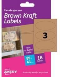 AVERY - A6 BROWN KRAFT LABELS HBK03 (OVAL 3X)
