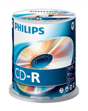 PHILIPS - CD-R 80Min 700MB 52x Cakebox (100 unidades)