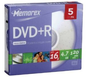 MEMOREX - DVD +R 4.7GB 16X SLIM 5