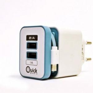 QUICK MEDIA - CARG/CASA/BL/2 USB(2,1+1A)+CABLE MICUSB (QMSWCB)