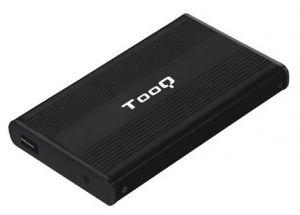 TOOQ - Caixa externa para disco HDD 2.5P SATA (9,5mm) a USB 2.0 - Carcaca aluminio - 75 x 130 x 12mm - Preto