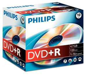 PHILIPS - DVD+R 4,7GB 16x Jewel Case (10 unidades)