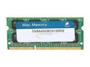 CORSAIR - SO DDR3 4GB PC 1333 APPLE QUALIFIED CMSA4GX3M1A1333C9