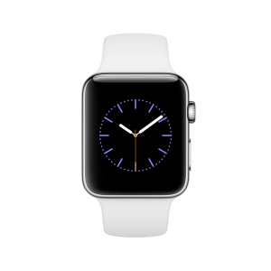 APPLE - Watch Series 2: 42mm Stainless Steel Case with White Sport Band