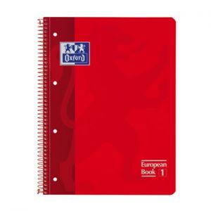 OXFORD - Caderno Espiral Oxford European Book: Capa Extra Dura Cartao: A4 Pautado: 90gr: 80 Folhas: Vermelho (min. 5 un.)