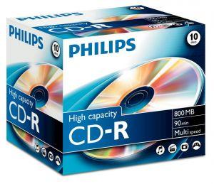 PHILIPS - CD-R 90Min 800MB 40x Jewel Case (10 unidades)