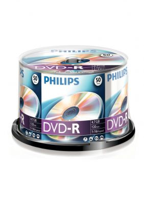 PHILIPS - DVD-R 4,7GB 16x Cakebox (50 unidades)