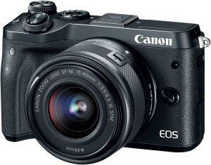 CANON - EOS M6 BLACK 15-45 - 24.2 megapixels, Vídeo em Full HD, DIGIC 7, Dual Pixel CMOS AF, Wi-Fi e NFC, Disparos a 7 fps, BT
