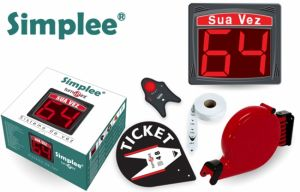 SIMPLEE - Turnopoint KIT - Kit composto por Visor 2 digitos preto, com comando sem fios, Dispensador de senhas e 1 rolo de 2.000 senhas brancas