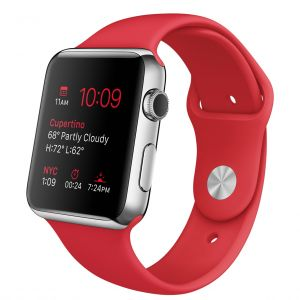 APPLE - Watch 42mm Stainless Steel Case with (PRODUCT)RED Sport Band