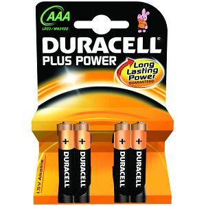 DURACELL - Pack  de 4 pilhas Duracell Plus Power AAA