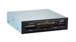 TOOQ - Leitor de cartoes interno 3.5P tudo em 1 - Ligacao USB 2.0 - 1 x conector USB 2.0 frontal - 4 Indicadores LED - Cor Preto