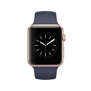 APPLE - Watch Series 1: 42mm Rose Gold Aluminium Case with Midnight Blue Sport Band