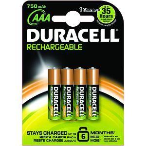 DURACELL - Pack de 4 pilhas Recargables Duracell AAA 750mAh