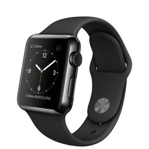 APPLE - Watch 38mm Space Black Stainless Steel Case with Black Sport Band