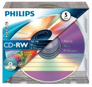 PHILIPS - CD-RW 80MIN 700MB 4-12x SL COLOUR (5)