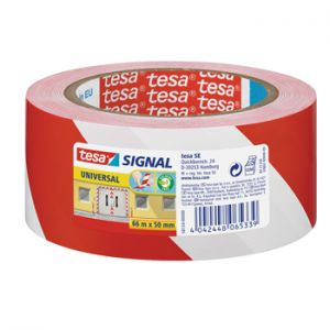 TESA - Fita Adesiva PP Sinalizacao Vermelho/ Branco 50mmx66mts 1un