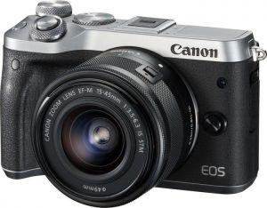 CANON - EOS M6 SILVER + EF-M15-45MM F3.5-6.3 IS STM - 24.2 megapixels, Vídeo em Full HD, DIGIC 7, Dual Pixel CMOS AF, Wi-Fi e NFC, Disparos a 7 fps, BT