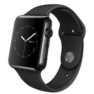 APPLE - Watch 42mm Space Black Stainless Steel Case with Black Sport Band