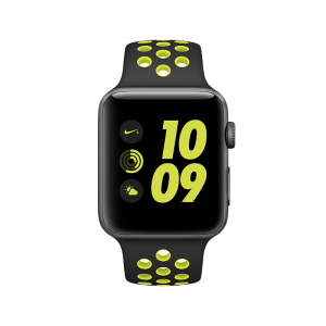 APPLE - Watch Nike+: 42mm Space Grey Aluminium Case with Black/Volt Nike Sport Band